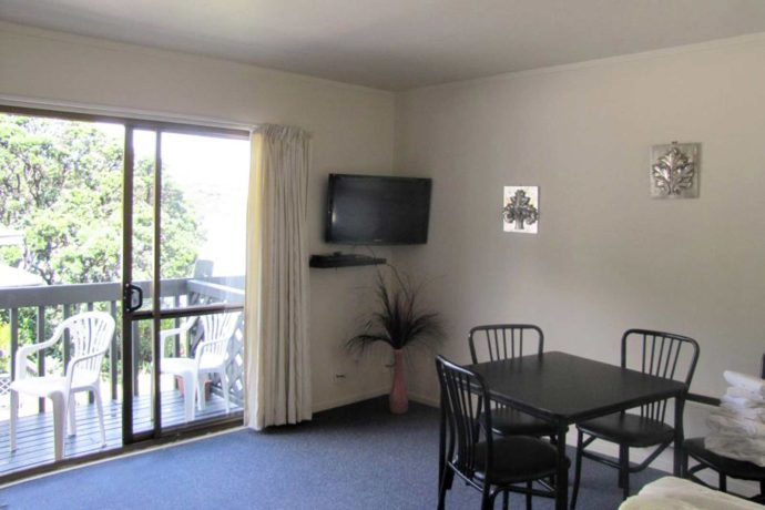 King Bed. Kitchenette, Bathroom, Lounge With Free View TV